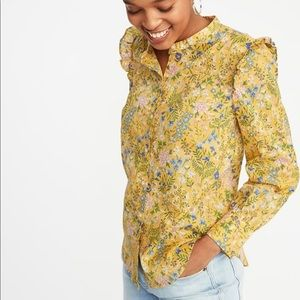 ❤️Old Navy•Ruffle shoulder yellow floral top XL